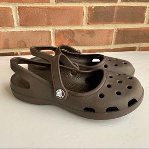 Crocs brown slip on sandals